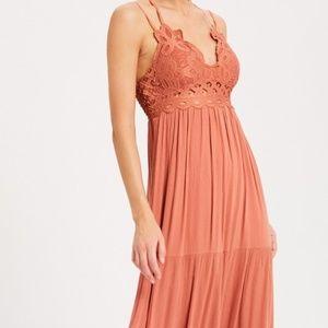 SCALLOPED LACE BRALETTE MAXI DRESS